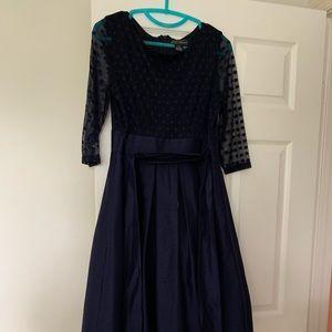 Jessica Howard navy sheer sleeve cocktail dress